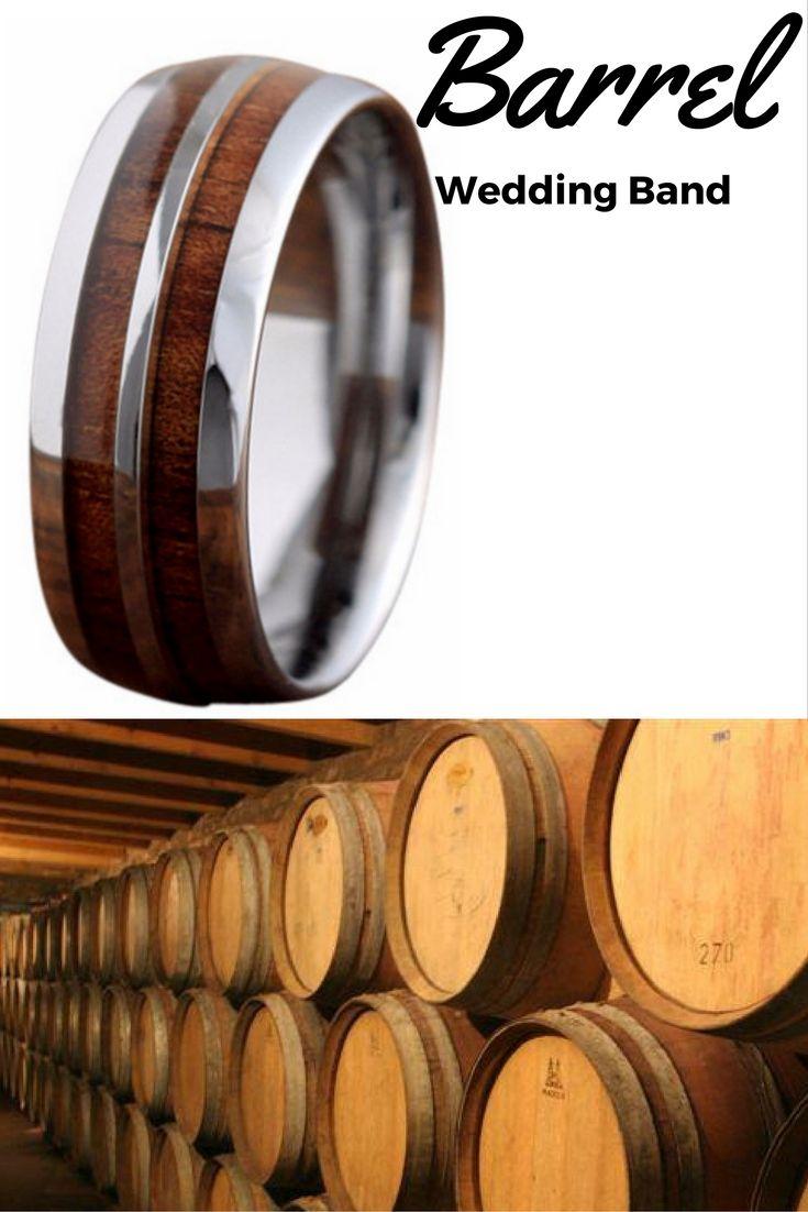 8mm Silver Tungsten Koa Wood Ring With Stripe Unique Mens