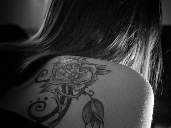 Wing Tattoo Shoulder Blades rose with thorn tattoo...