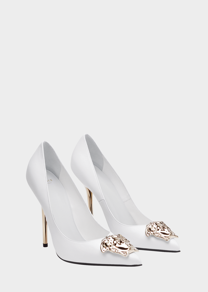326960be62 Palazzo Pumps from Versace Women's Collection. A stiletto pump with an  iconic status. Highlighted by the Medusa plaque and matching tone 11cm heel.