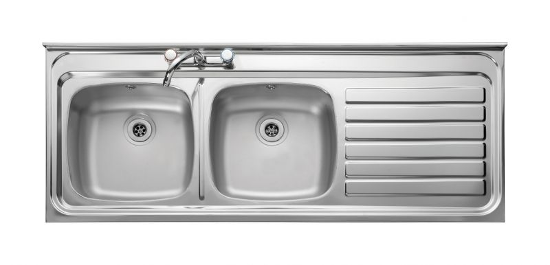 Sink With Dish Drainer Built In Bowl 2th Stainless Steel Kitchen Right Hand Sq Front