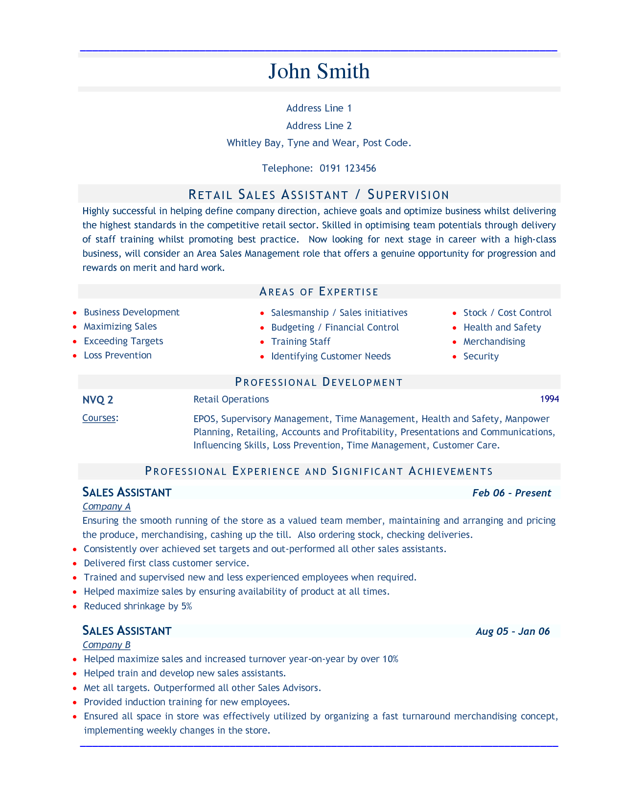 sample resume for sales job