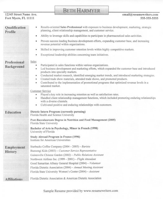 sample resume sales rep