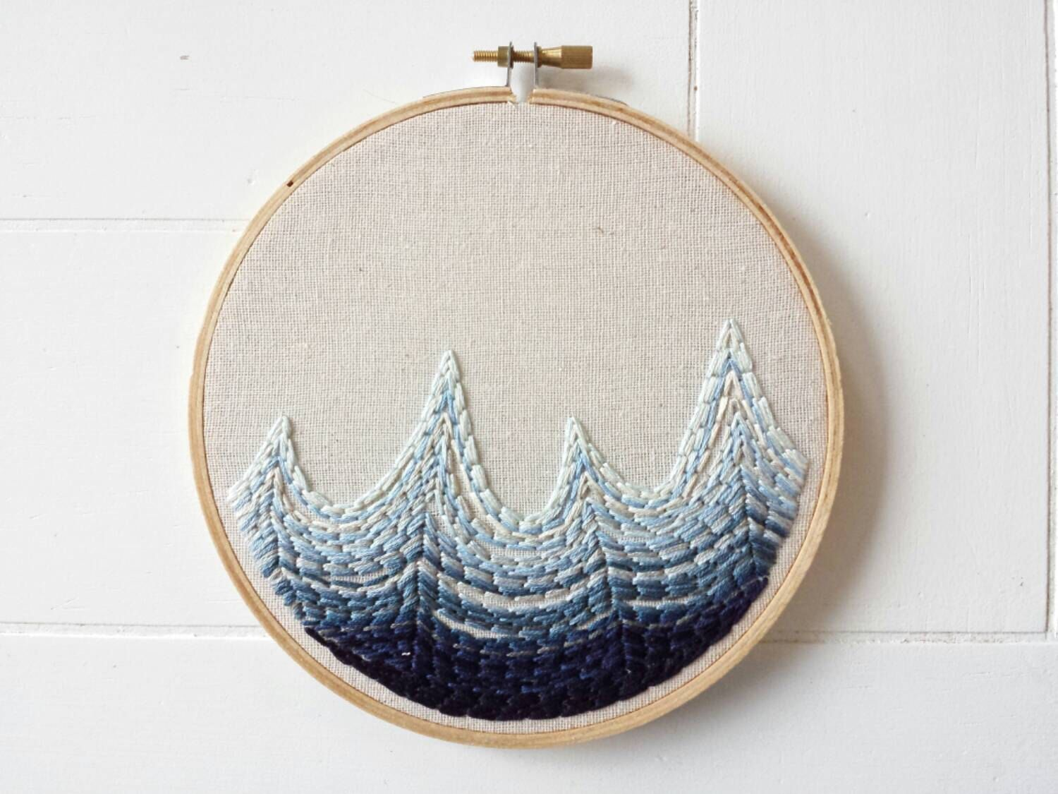waves embroidery hoop art, embroidered sign, ocean home decor