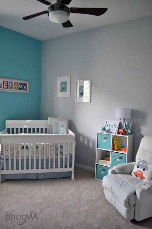 wrong blue but i would like three gray walls and one blue wall in baby boy roomsbabies