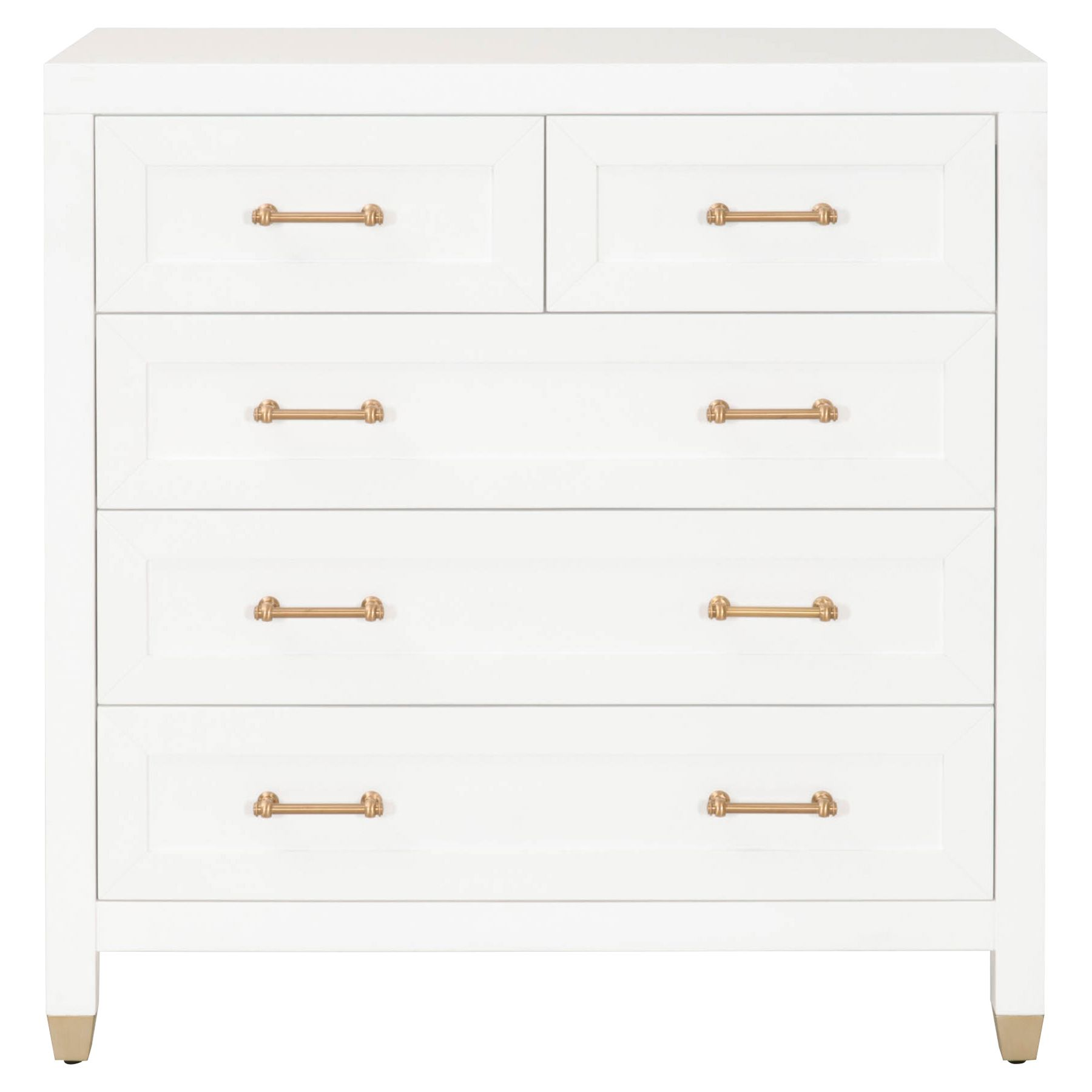 Stacy Modern Classic 5 Drawer Brass Accent White Dresser Drawers White Dresser Classic Drawers [ 1800 x 1800 Pixel ]