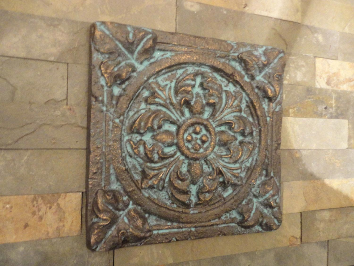 Mediterranean Wall Decor Wall Art Indoor Or Outdoor Patina Blue Rubbed Bronze Finish 28 50 Via Etsy Tuscanstyle Artesanato