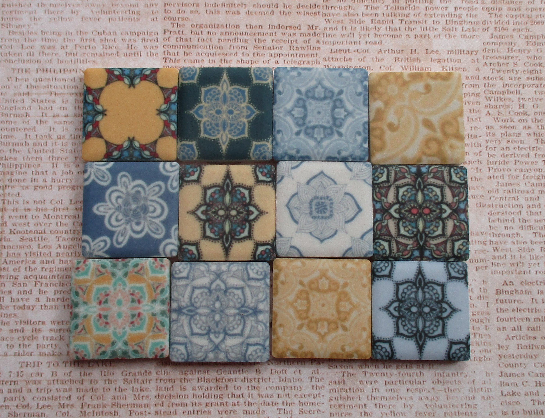 Premium Matte Finish 1 Inch Ceramic Mosaic Tiles 12 Piece Set Decorative Medallions Blue Yellow Mosaic Art Mosaic Tiles Ceramic Mosaic Tile Mosaic Art