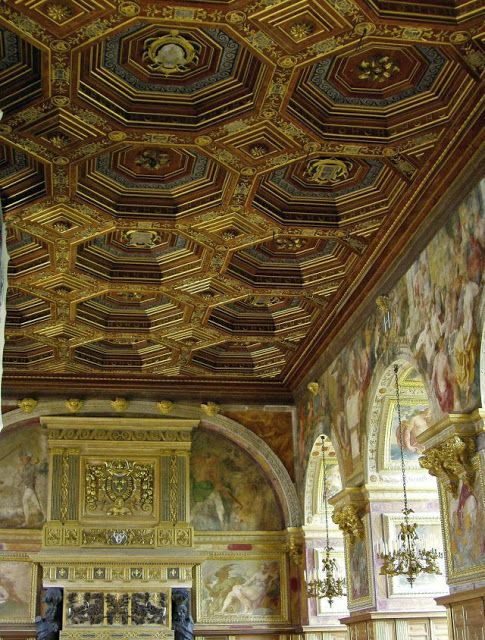 Ballroom started under the reign of King Francois I, fireplace and coffered ceiling, both created by Philibert Delorme for King Henri III