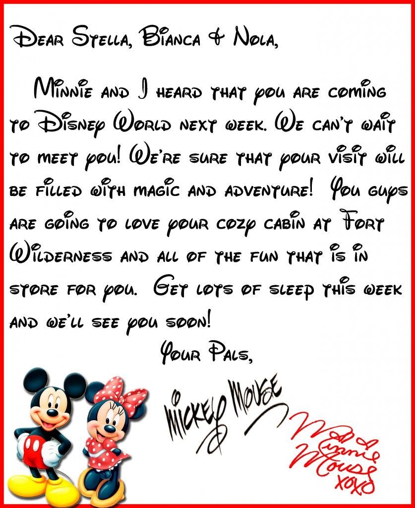We Heard You\'re Coming to Disney World! A Letter from Mickey & Minne ...