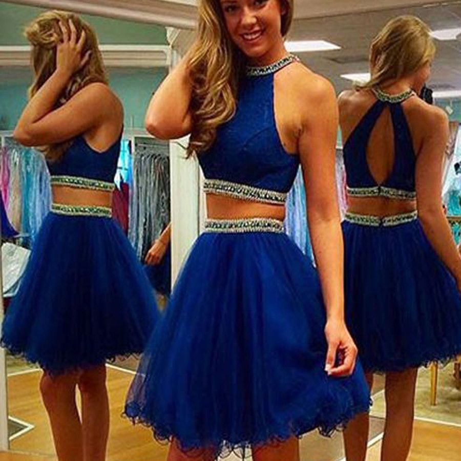 041131cbac 2016 royal blue two pieces Crop Tops off shoulder sexy homecoming prom dress