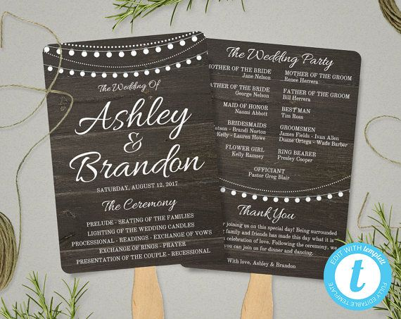rustic wedding program fan template rustic string lights fan