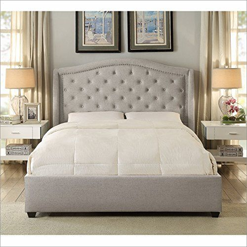 hampton and rhodes mackenzie upholstered platform bed in beige in king http