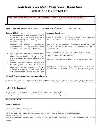 Siop Unit Lesson Plan Template Sei Model Lesson Plan Templates How To Plan Lesson