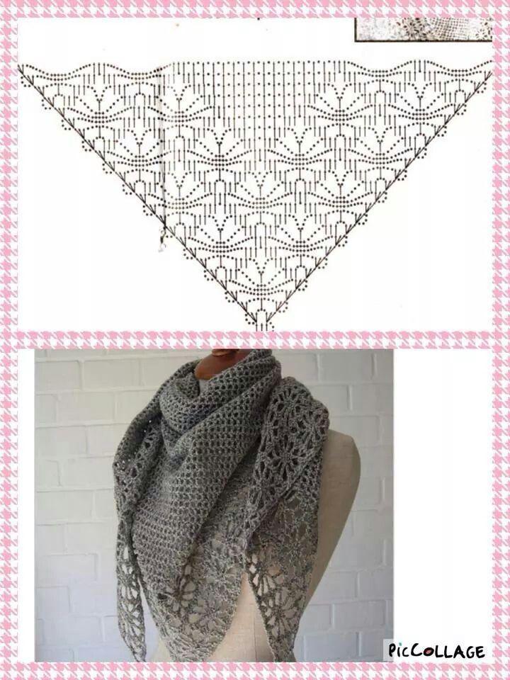 Omslagdoek | prendas en crochet | Pinterest | Chal, Esquemas y Tejido