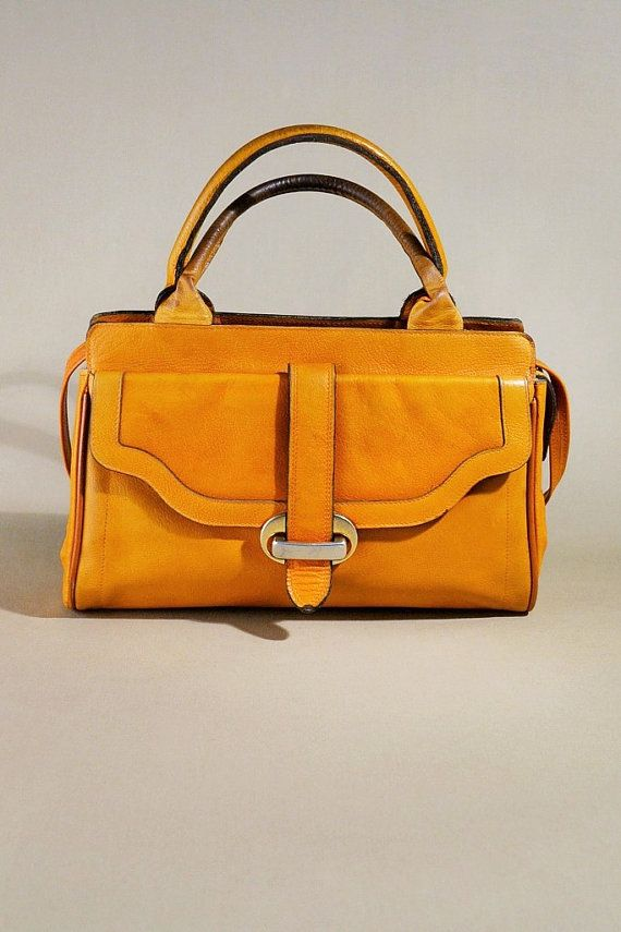 Vintage Camel Color Leather Handbag Shoulder Bag Door Allvintagebags