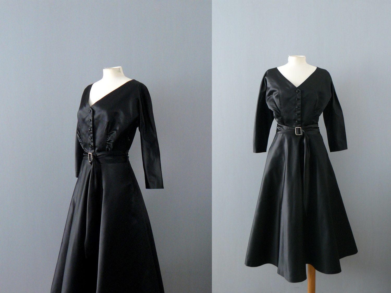 Vintage black dress. 1940s dress. Black satin dress. 40s evening ...