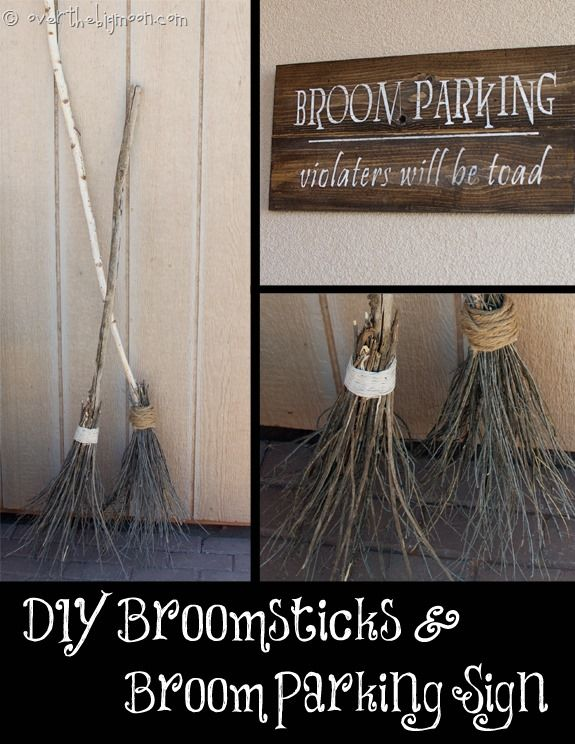 50 best diy halloween outdoor decorations pinterest diy outdoor diy make your own witch brooms and halloween signs solutioingenieria Image collections