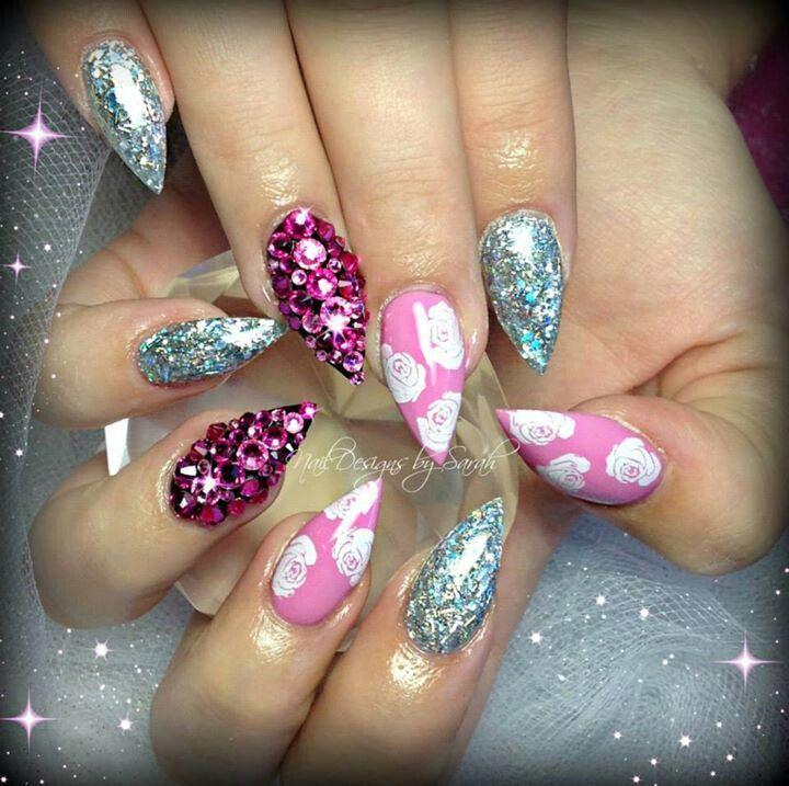 Pink n silver | Almond nails, Sharp nails, Nails