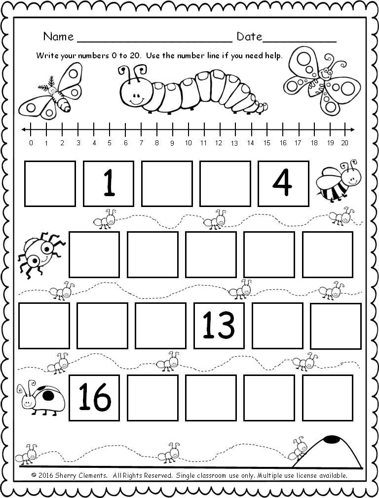 FREEBIE! (5 pages) Fill in the missing numbers (0-20) with the bugs ...