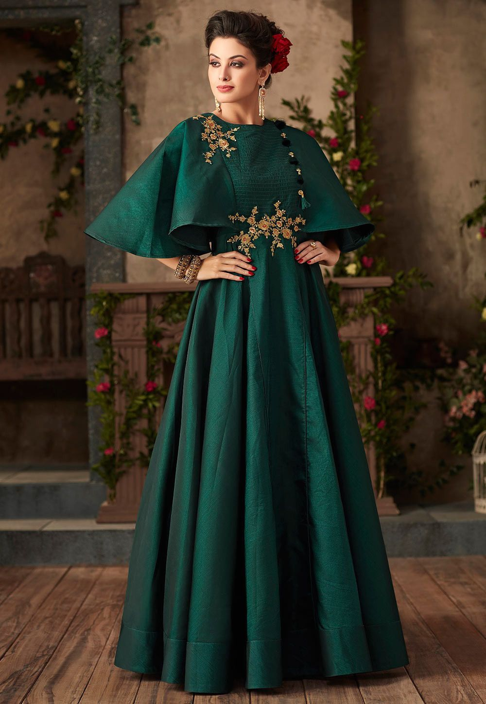 60f0726324e Buy Embroidered Taffeta Silk Gown in Teal Green online