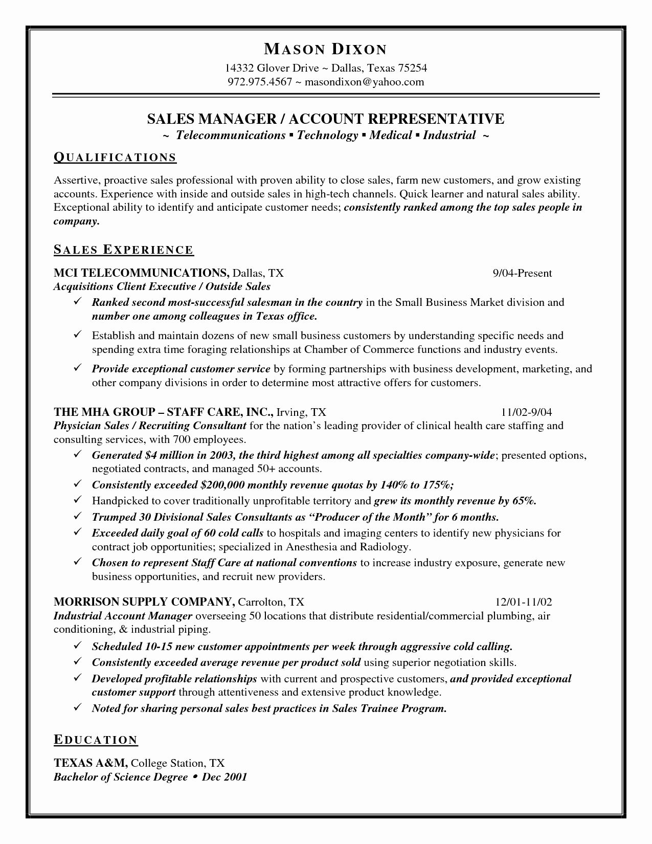 resume skills for sales position