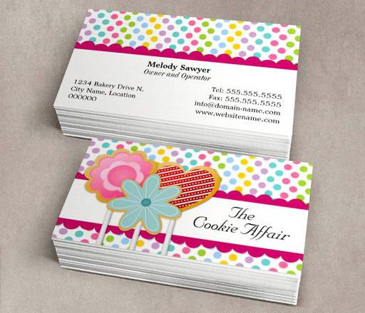 Whimsical Cookie Pops Business Cards This Great Business Card Design Is Available For Bakery Business Cards Templates Business Card Maker Bakery Business Cards