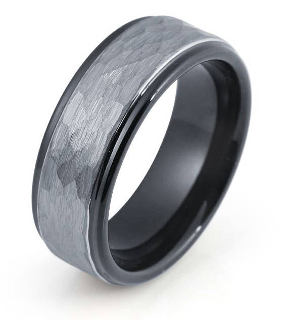 Black Tungsten Wedding Band Mens Wedding Band Black And White Gold Engagement Rings Unique Black Tungsten Rings Mens Wedding Rings