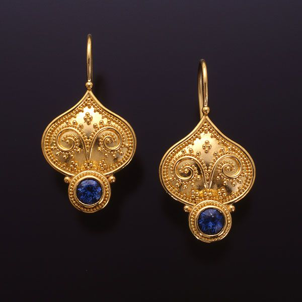 Tuscan Garden series by Zaffiro - Earrings are set with Blue Sapphires in granulated 22kt yellow gold with 18kt yellow gold french hooks.