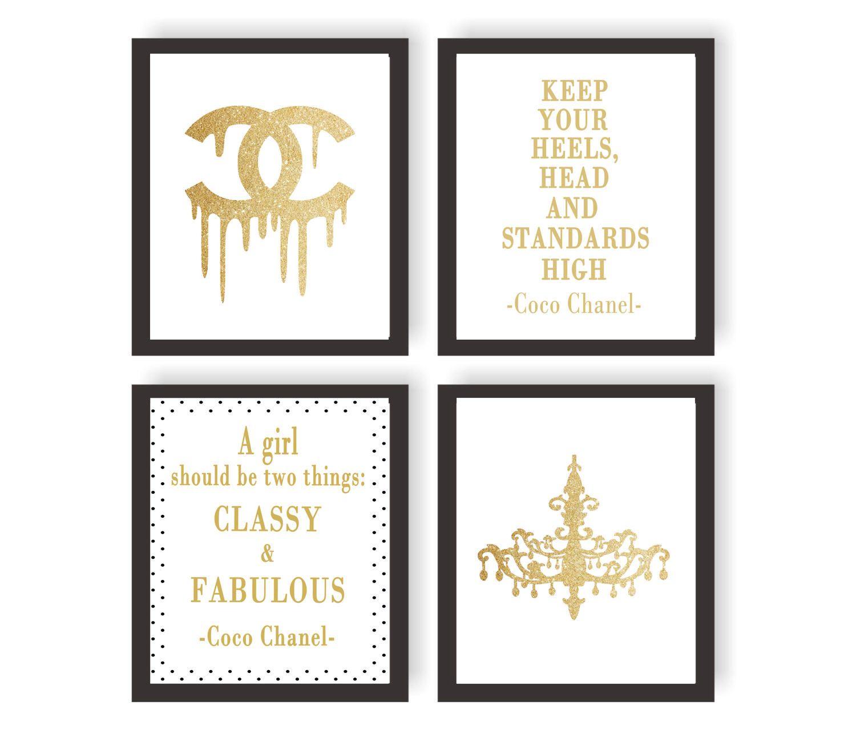 attractive Coco Chanel Wall Art Part - 16: Coco Chanel wall art, Coco chanel gold set of 4 prints, Coco chanel prints