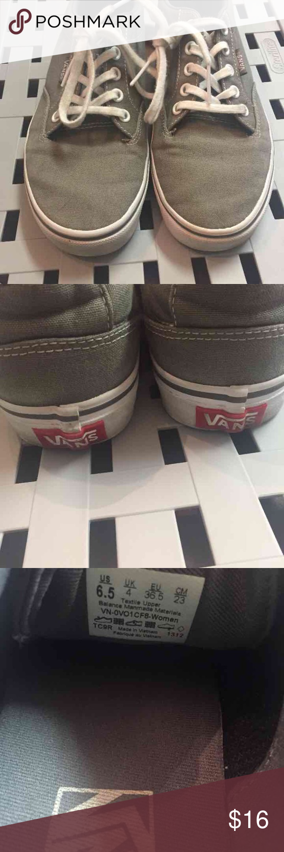 Grey Vans Selling grey vans size 6.5, they were only used twice, pretty good condition. Vans Shoes Sneakers