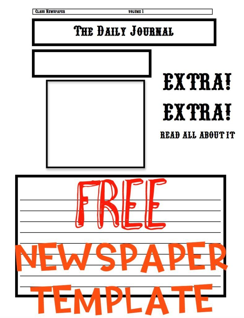 Newspaper Template  Newspaper Kinder Writing And Social Studies