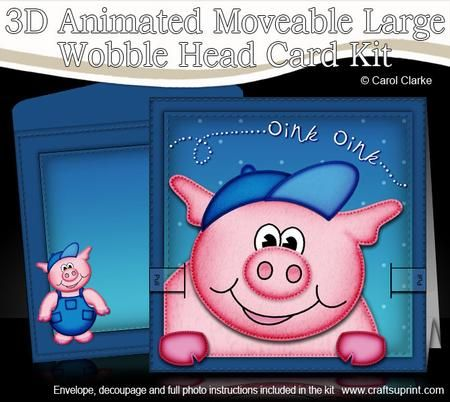 3d ziggy piggy animated large wobble head card kit craft ideas