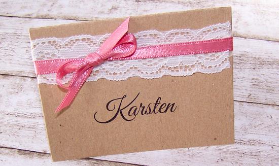 Namenskartchen Escort Card Hochzeit Vintage Kraft Spitze