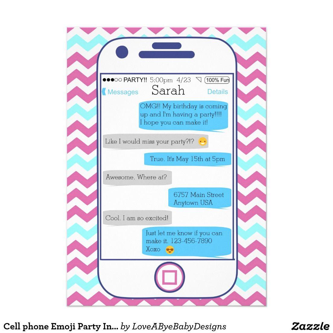 Cell Phone Emoji Party Invitation