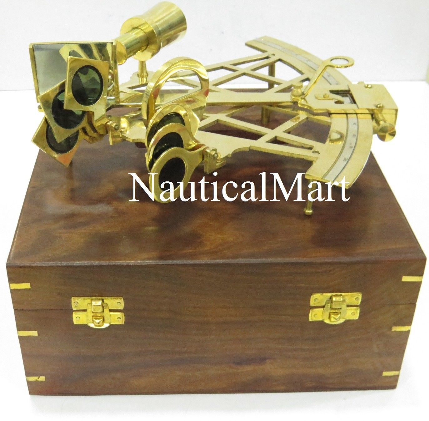 Nautical Marine Solid Brass Sextant With Brown Wooden Box Collectible Maritime