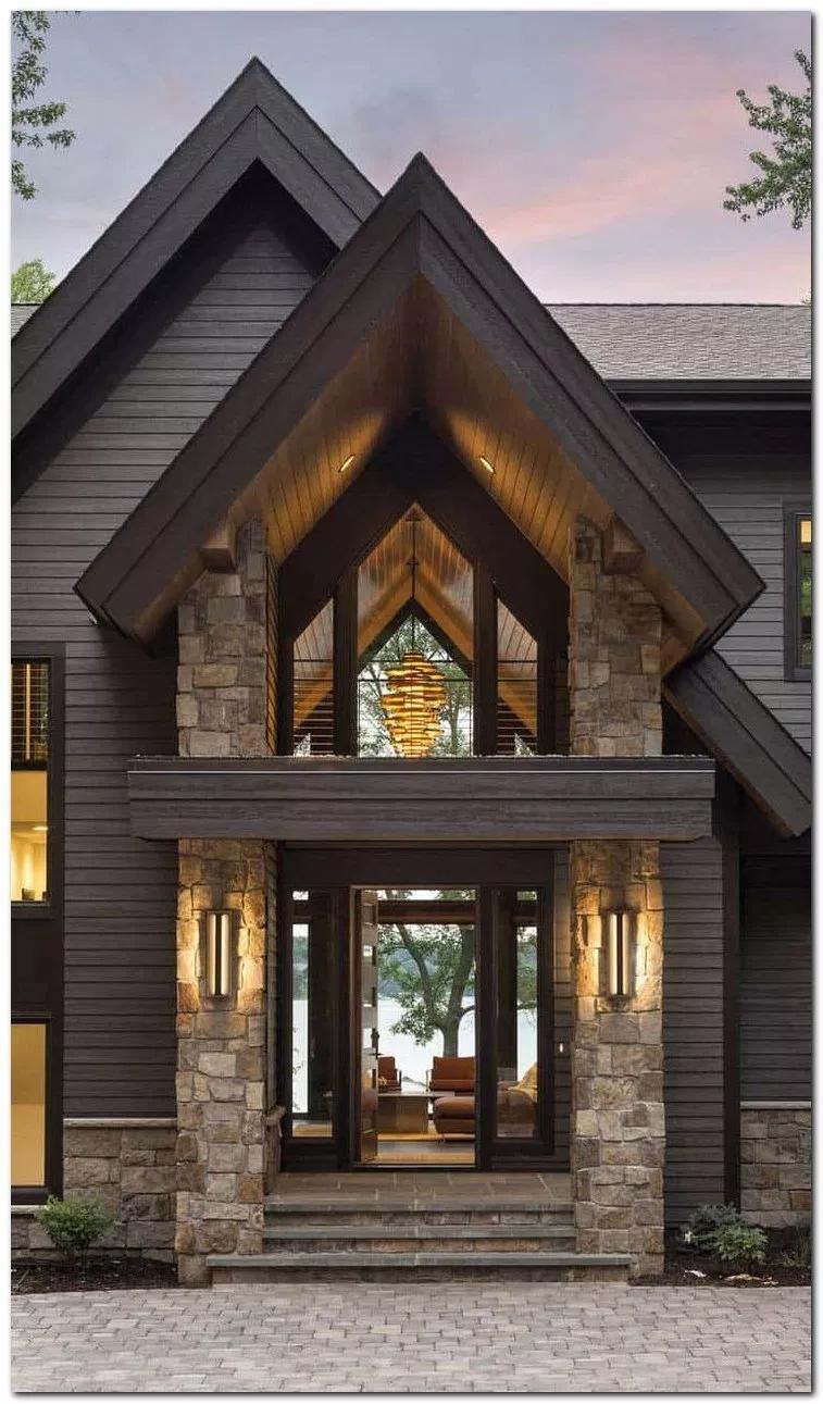 33 Gorgeous Cottage House Exterior Design Ideas Housedesign Housedecor Houseideas Home And Garden Modern Lake House House Designs Exterior House Exterior