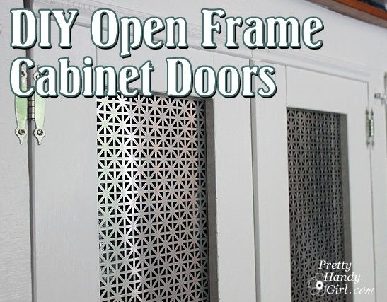 DIY Open Frame Cabinet Doors With Decorative Radiator Grate Insert.