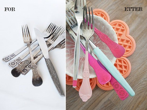 Decorate old cutlery city spraypaint parts of it in fresh colors