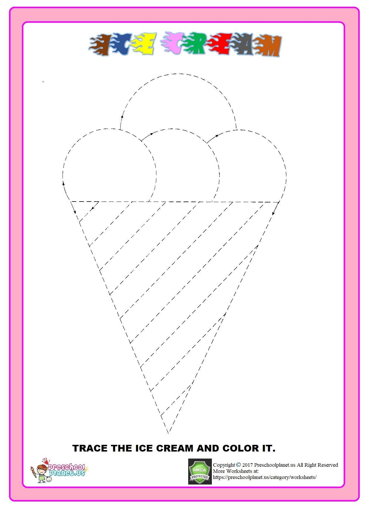 Ice Cream Trace Worksheet With Images