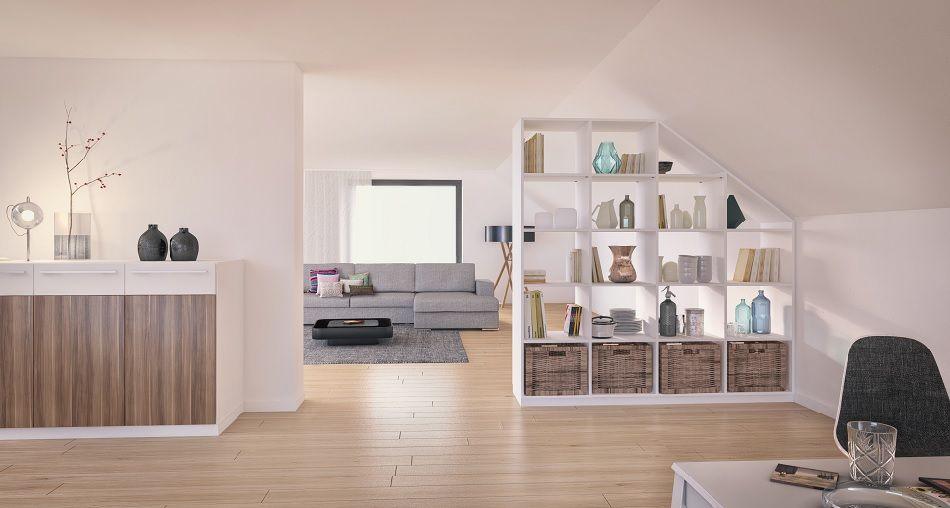 wei es regal als raumteiler unter einer dachschr ge im wohnzimmer mit dazu passender kommode. Black Bedroom Furniture Sets. Home Design Ideas