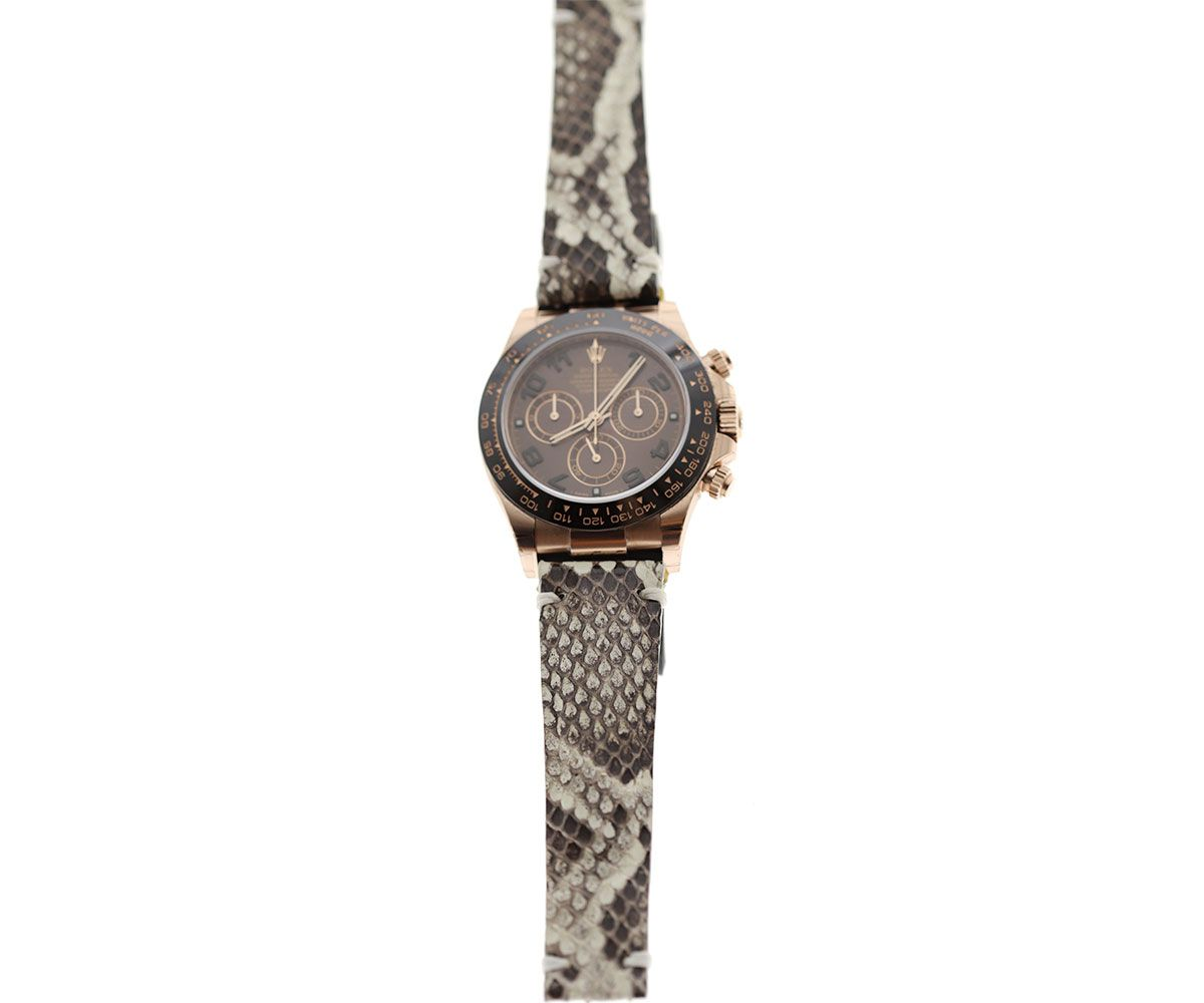 Beige Exotic Python Leather Strap for Rolex Daytona Watches 20mm by Visconti Milano  #rolexdaytona