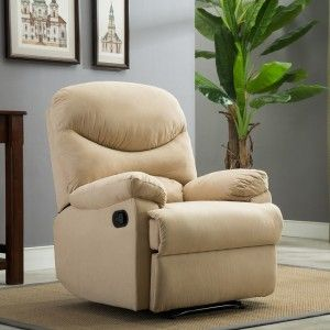 Leather Sleeper Sofa Microfiber Recliner Sofa Chair Home Office Reclining Positions Ergonomic Armrests Footrests Beige living