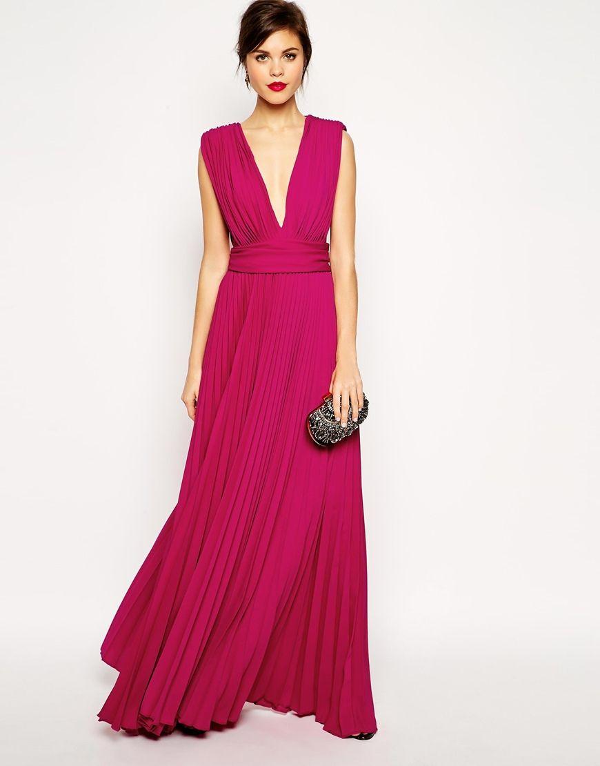 Enlarge ASOS RED CARPET Pleated Deep Plunge Maxi Dress $174.25 ...