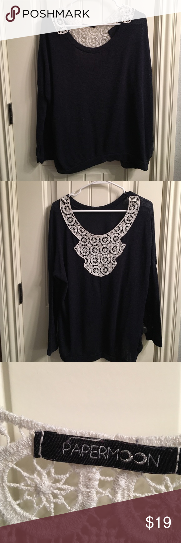 Women's XL navy sweater with lace on back Women's XL navy sweater with lace on back.  Got it from stitch fix, it's very roomy and it covers a bra, appropriate for work and otherwise. Papermoon Sweaters Crew & Scoop Necks