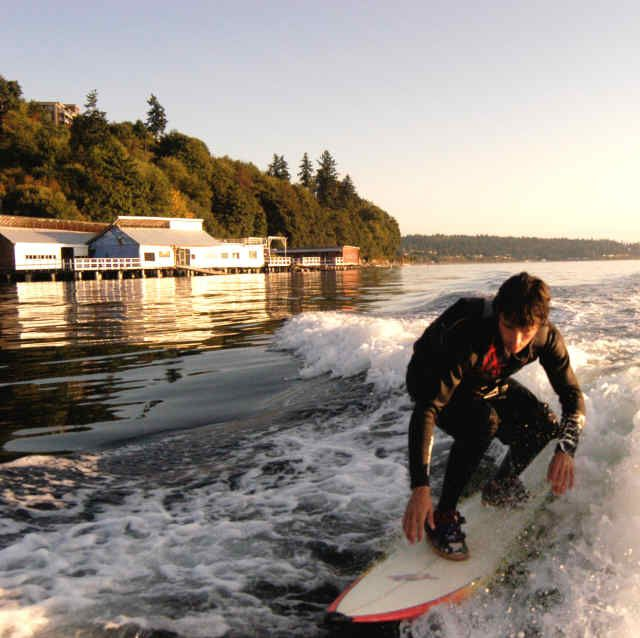 Wake surf on the beaches of Puget Sound