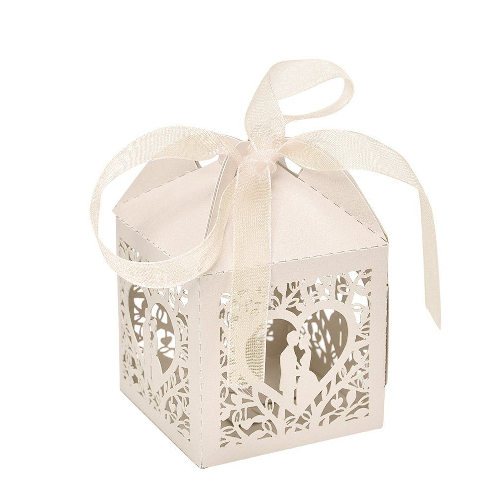 10pcs Ribbon Gift Box Married Favor Candy Bo Wedding Party Decor Beige Tried It