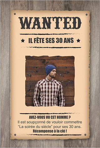 Carte D Invitation Anniversaire Wanted à Personnaliser Sur