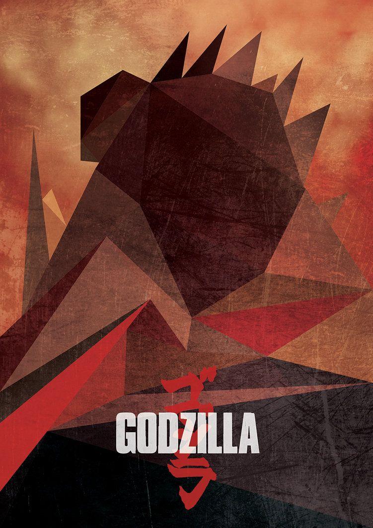 godzilla low low poly poster illustration by hesham m adel