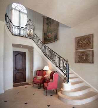 French Country Style Entry Traditional Staircase French Country