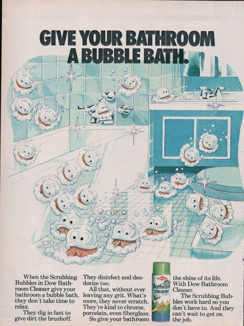 Vintage bathroom ads - 1979 Print Ad Dow Bathroom Cleaner Scrubbing Bubbles Give Bathroom Bubble Bath